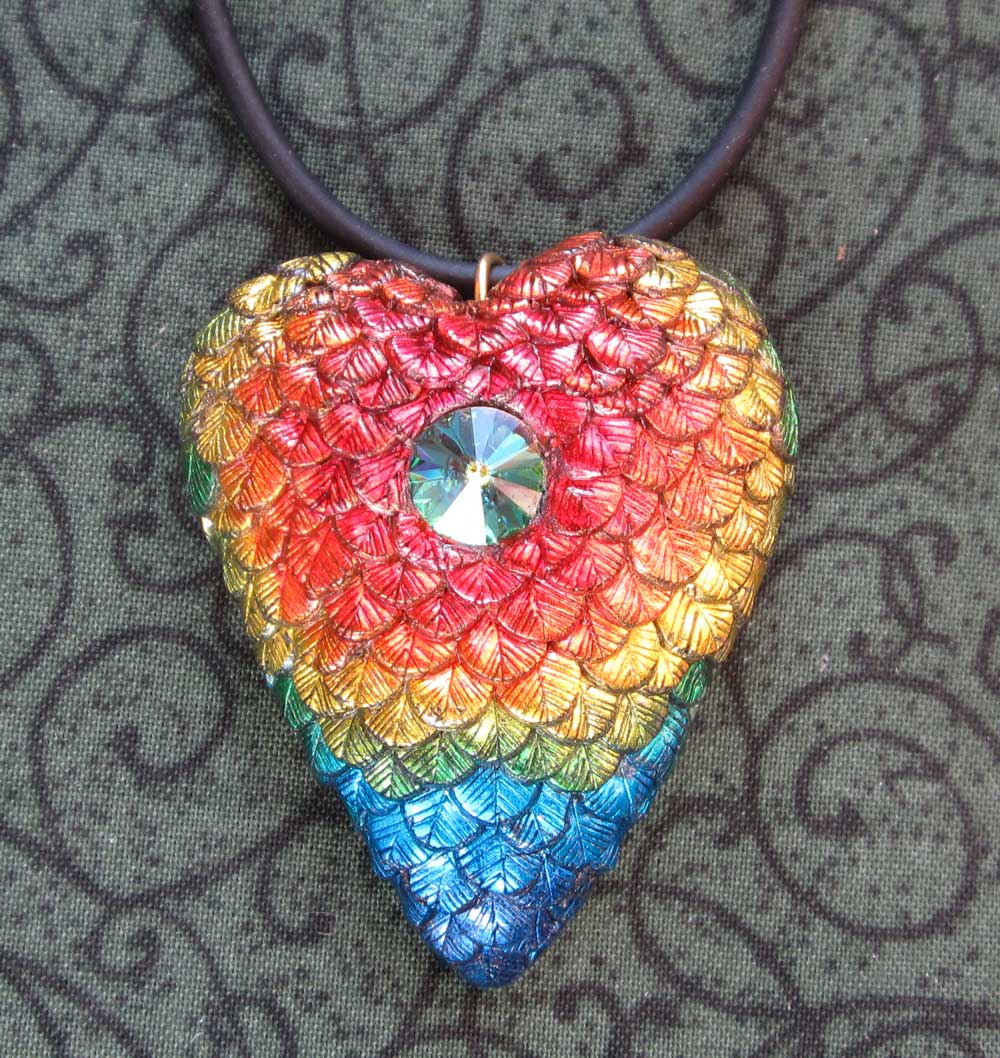 Fiery-throated Hummingbird Heart Necklace