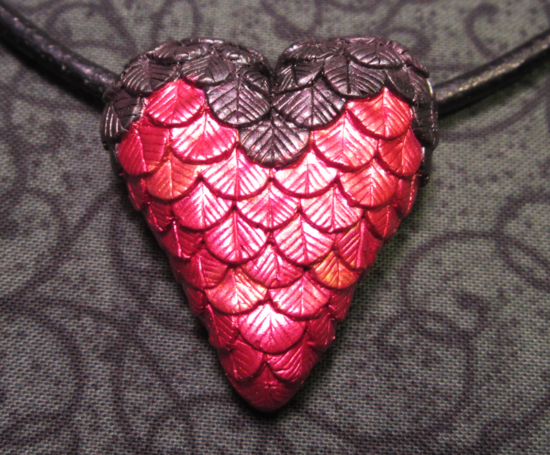 Ruby-throated Hummingbird Heart Necklace